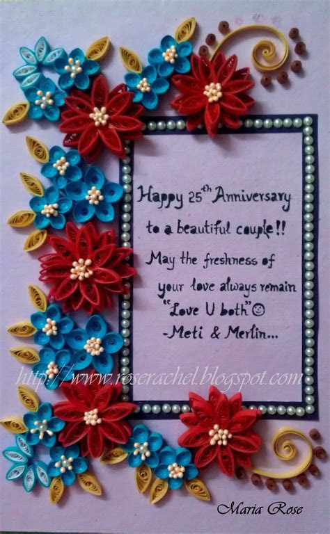 25th Wedding Anniversary themed frame   Beautiful Quilling