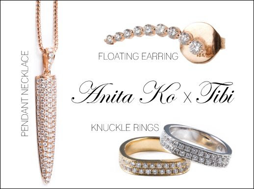 LE FASHION BLOG JEWELRY CRUSH ANITA KO FOR TIBI COLLECTION WHITE GOLD YELLOW GOLD DIAMOND KNUCKLE RING RINGS FLOATING ROSE GOLD DIAMOND EARRING RIGHT OR LEFT ROSE GOLD DIAMOND DAGGAR PENDANT NECKLACE
