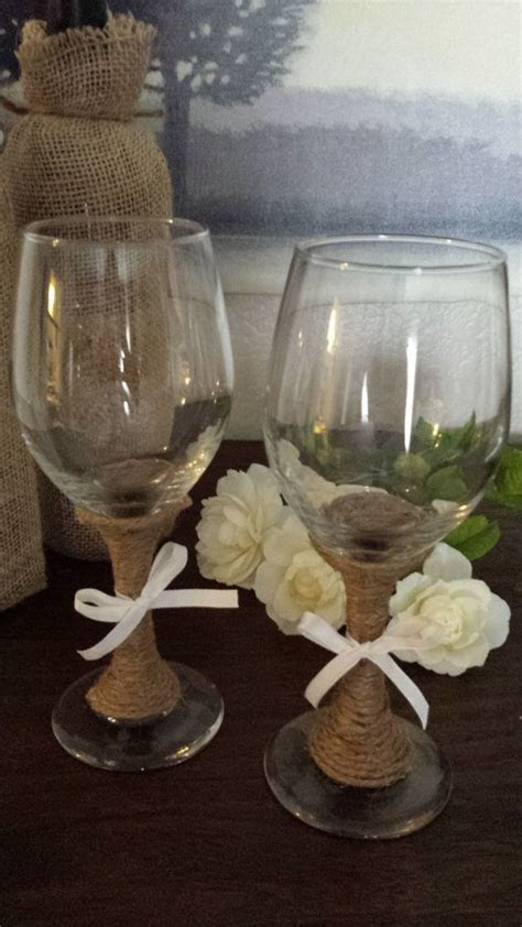 Set of wine glasses decorated with twine. Perfect for a