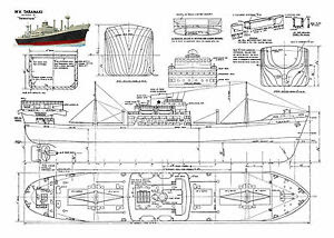 Model Boat Plans Scale Radio Control Steam or Electric Tramp Steamer