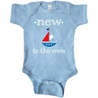 Baby Boy New to The Crew Sailboat Infant Creeper - Light Blue