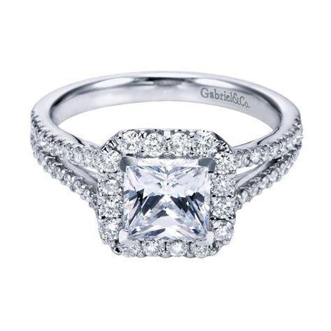 Gabriel & Co. Engagement Rings Diamond Cushion Halo White Gold