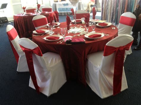 White Chair cover and Red Sash #chaircovers #chaircover #