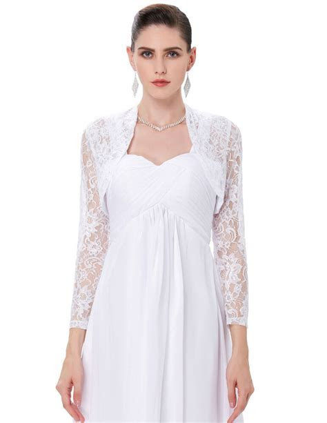 Women' Long Sleeve Lace Wedding Jacket Bolero Bridal Dress