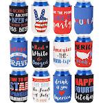 America Beer Can Sleeves - 12 Pack American Flag Patriotic 'Merica Freedom Party Coolers