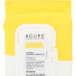 Acure Brilliantly Brightening Towelettes, Cleansing, Coconut - 30 towelettes