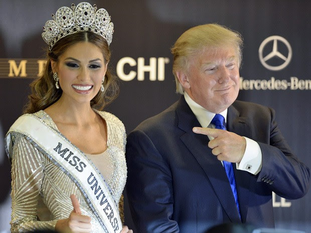A Miss Universo Gabriela Isler e o bilionário Donal Trump após o Miss Universo 2013 (Foto: Alexander Nemenov/AFP)