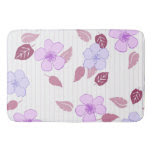 Pink Flowers And Pin Stripes Bath Mats