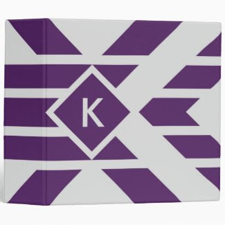 Purple Parallelogram Stripes on Gray with Monogram 3 Ring Binders