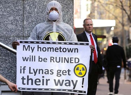 Protesters at the Lynas office in Sydney.