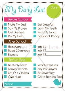 Daily Schedule Checklist   Daily Planner