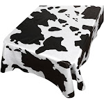 "Carnation Home Fashions DFLN-52/MO Moo Vinyl Flannel Backed Tablecloth 52"" x 52"" Black/White"