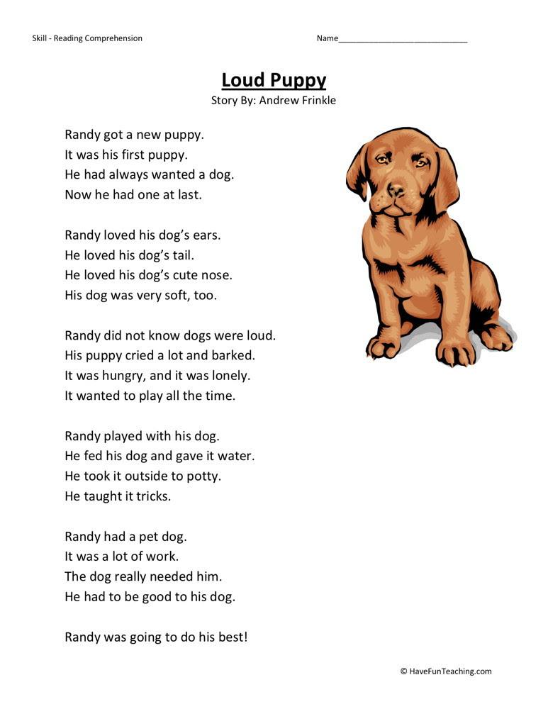 Reading Prehension Worksheet Loud Puppy