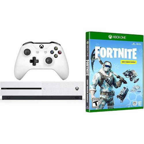Microsoft Xbox One Battle Royale Fortnite Deep Freeze Bundle: 1000 V-Bucks, Frostbite Epic Cosmetic Sets, Xbox One S 1TB Gaming Console with Wireless Controller