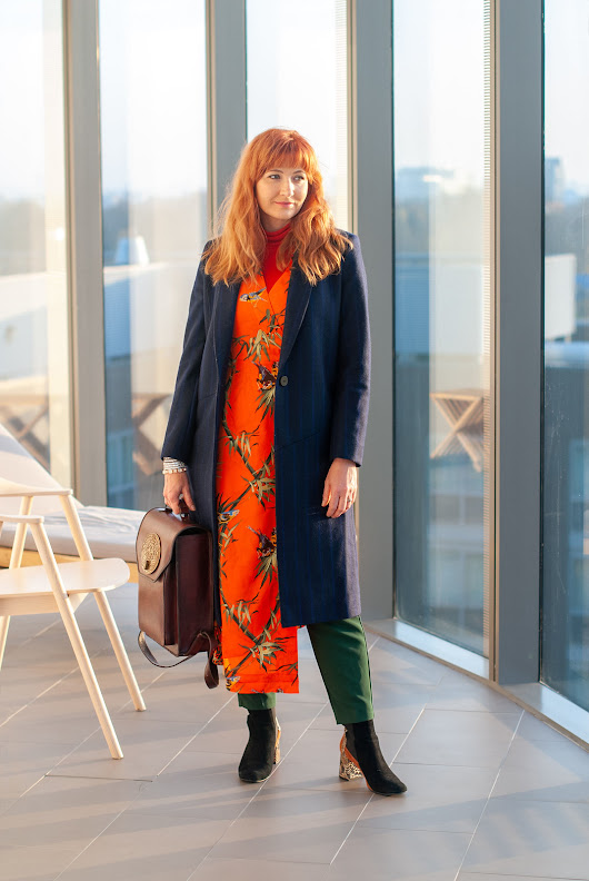 Layering a Midi Dress and Trousers Under a Tailored Coat