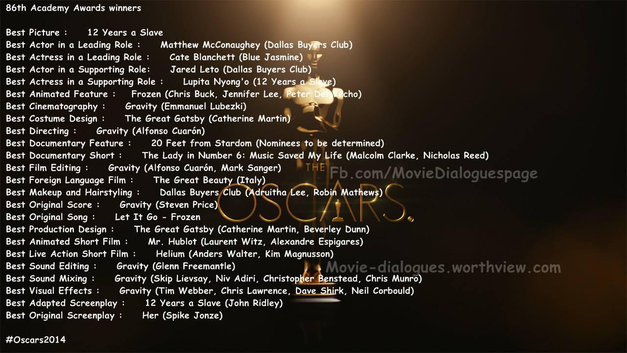 Oscars 2014: Complete List of Academy Award Winners ...