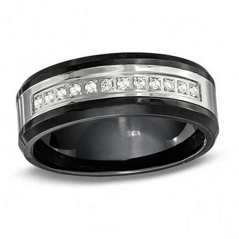 Men's 8.0mm 1/8 CT. T.W. Diamond Black Ceramic and