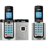 VTech DS6621-2 DECT 6.0 Connect to Cell Answering System with Caller ID/Call Waiting, Silver/Blk, 2 Handsets