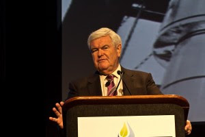 Former House Speaker Newt Gingrich addresses the Marcellus Shale Coalition's annual industry conference in Philadelphia.