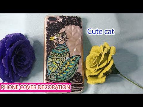 Vẽ trang trí ốp điện thoại với họa tiết chú mèo đáng yêu nhất quả đất
