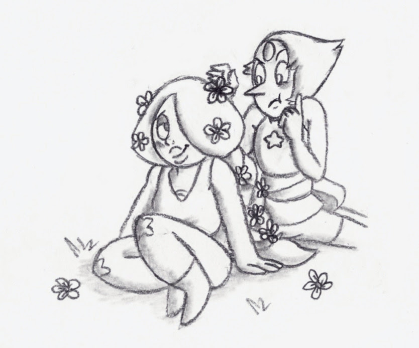 Pearlmethyst Week - Day 3: Flowers   Amethyst just did it to humor her. Pearl is obsessed with making everything symmetrical.   Please participate in Pearlmethyst Week, it's a hoot! <3