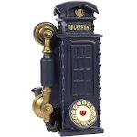Juvale Piggy Bank Money Box British English Style - Polyresin Vintage Street Telephone Booth DecorMoney Bank Storage Pot, Navy Blue