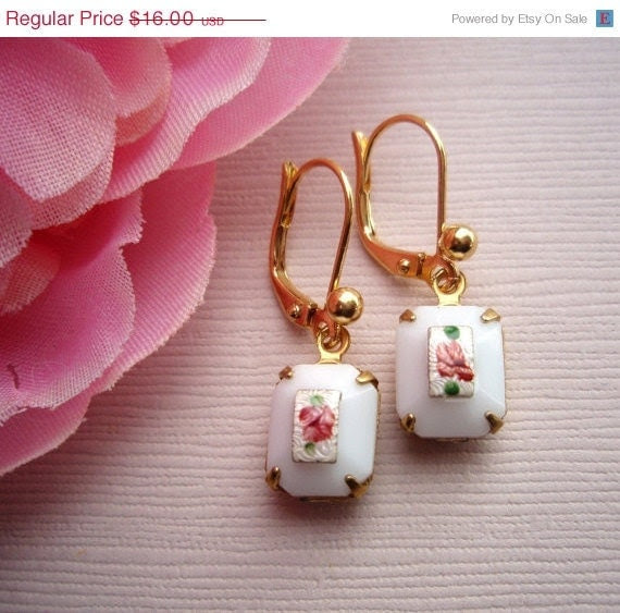 15% off Anniv Sale ROSEBUD, Vintage Rose Earrings, Milk Glass Earrings, Romantic Earrings, Vintage White Earrings, Bridesmaids Gifts