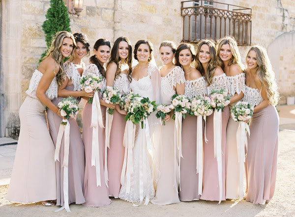 Rustic Romantic Lace Covered Pink Tone Bridesmaid Dresses