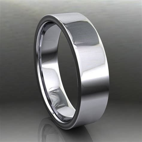 parker ring   men's 14k white gold wedding band, brushed