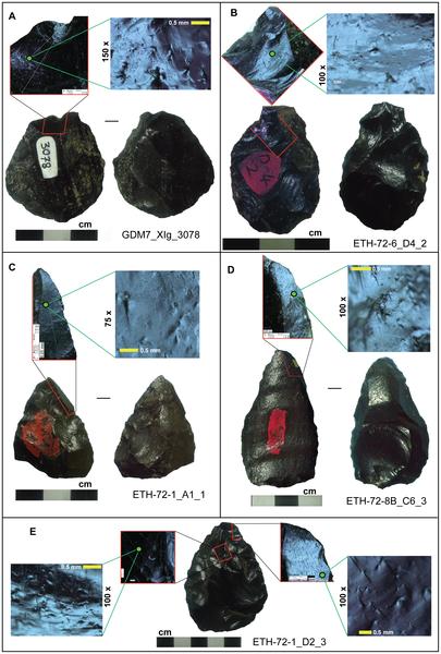 Figura 2 Una muestra de Gademotta señaló artefactos exhiben micro y macrofracture características indicativas de las armas de proyectil.