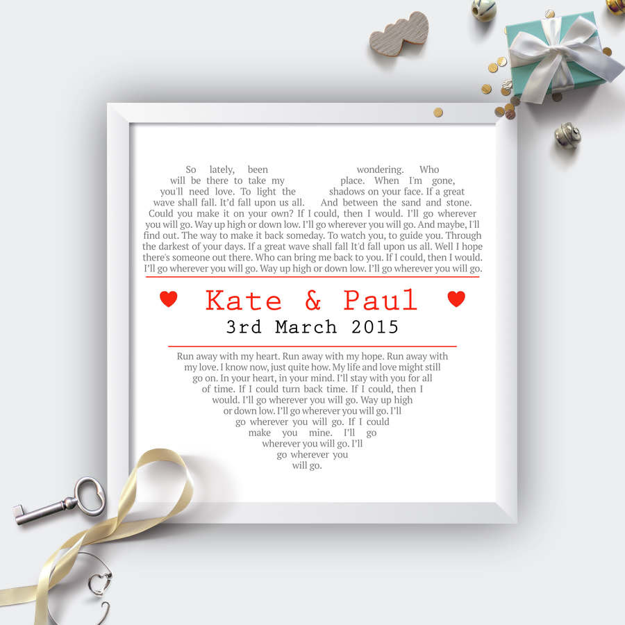 Personalised Square Heart Wedding First Dance Lyrics Print Not