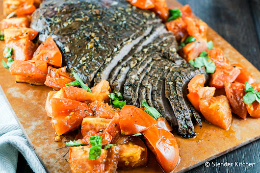 Balsamic Flank Steak with Roasted Tomatoes - PNC