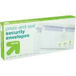 """Press and Seal Security Envelopes 4"""" x 9.5"""" 45ct White - Up&Up"""