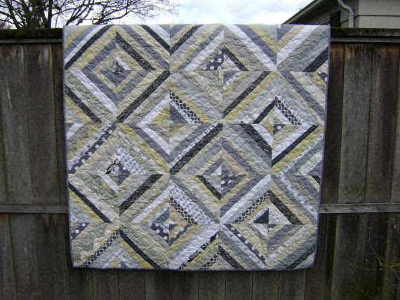 neutral quilts | Lap Size String Quilt in soft Neutral Colors (Grays White Black ...