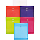 JAM - Document wallet - Letter - blue, purple, red, pink, clear, lime green (pack of 6)