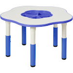 ECR4Kids Flower Resin Dry-Erase Adjustable Activity Table with Removable Storage Bin, Blue