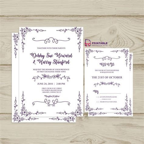 Free PDF download Wedding Invitation and RSVP   Doodle