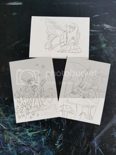 Cartoon ACEO Art Work In Progress (c) Emily White 2017  zombietoes.com