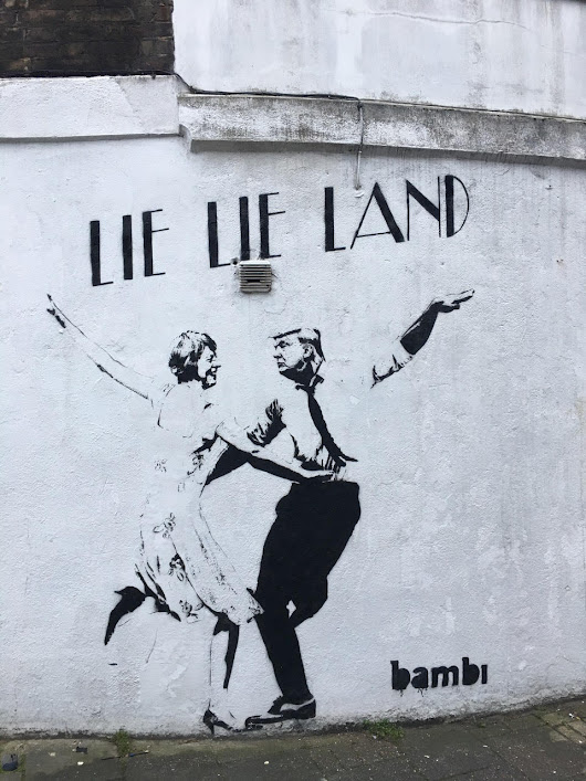 Street Artist Bambi Unveils Dancing May and Trump Mural in London