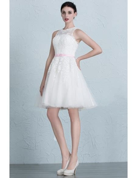 Mini Lace Tulle Short Wedding Dresses Ivory A Line Scoop