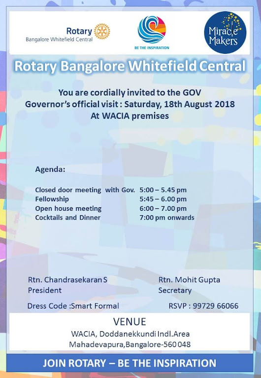 Governers Visit 2018-19 - Rotary Bangalore Whitefield Central