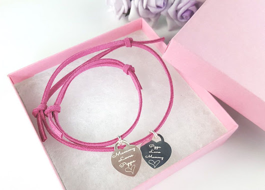 Personalised 925 Sterling Silver Mummy and Me Bracelet Set