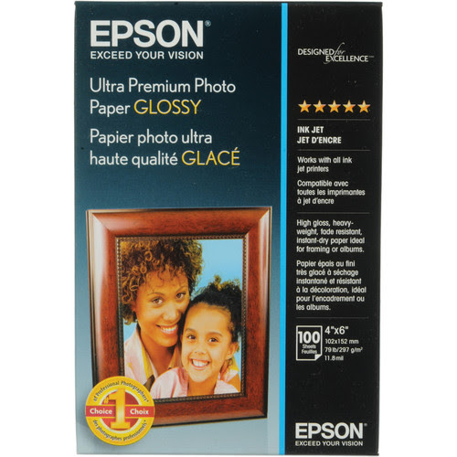 "Epson Ultra Premium Glossy Photo Paper - 4x6"" - 100 Sheets"