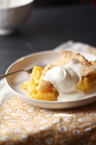 peach pie with homemade ice cream