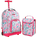 J World Lollipop Kids Rolling Backpack with Lunch Bag (Kids ages 3-7) - Blue Raspberry - Rolling Backpacks