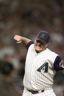 9 Oct 2001:  Curt Schilling #38 of the Arizona Diamondbacks celebrates after pitching a 3-hit shutout against the St. Louis Cardinals during game one of the National League West Divisional Series at Bank One Ballpark in Phoenix, Arizona. The Diamondbacks