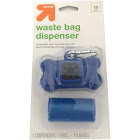 Dog Waste Disposal Bags 1 Roll - 15ct and Bag Dispenser - Up&Up , Blue