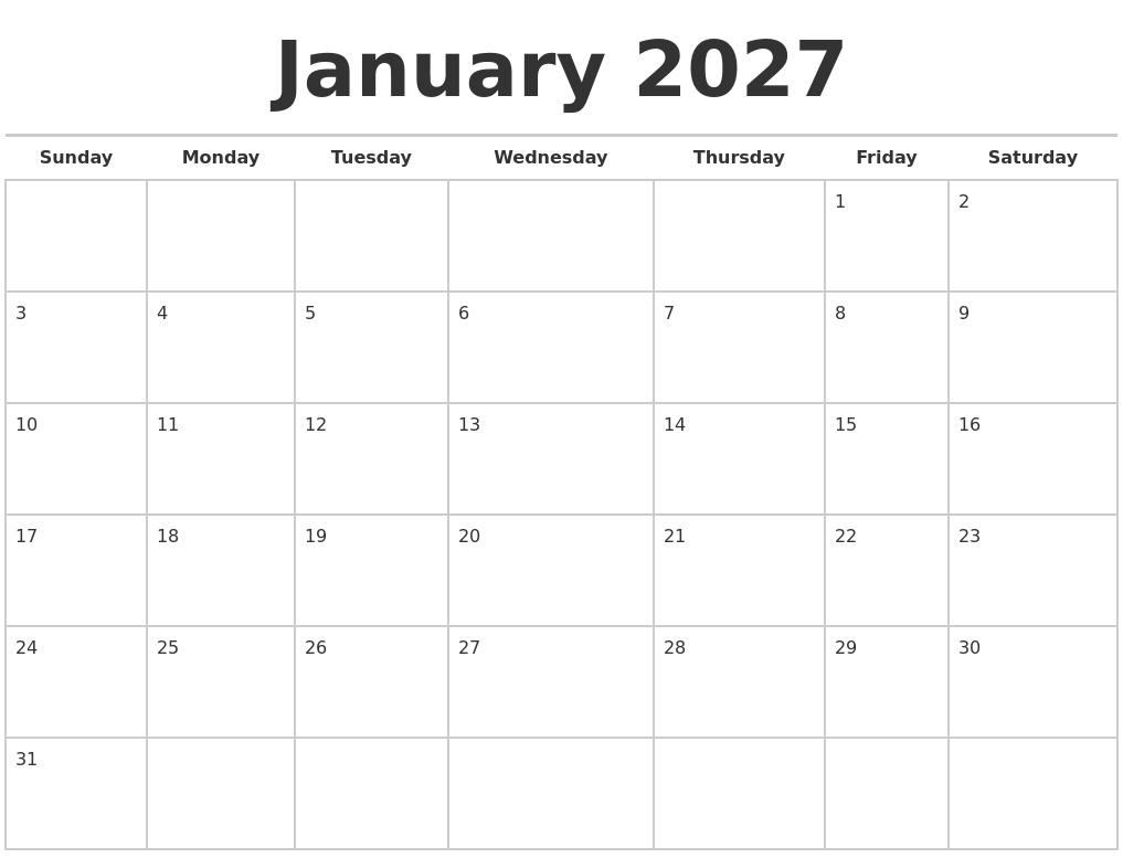 january 2027 calendars free full weekday