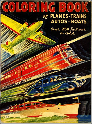 Coloring Book of Planes Trains Autos Boats