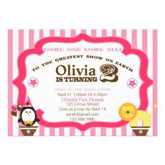 Pink 2nd Birthday Circus Invitation